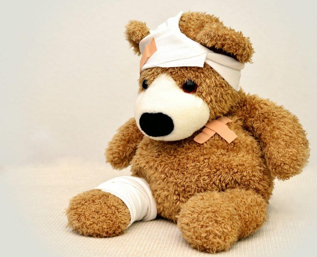 teddy bear, injured, bandages